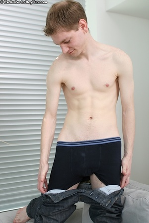 Pale innocent faced dude wears hot boxers and beats off his cock - XXXonXXX - Pic 9