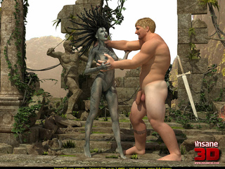 Gordgon bitch riding a terrific human dick in - Cartoon Sex - Picture 1