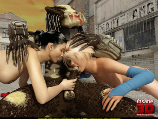 Brunette and a blonde enjoying in big alien - Cartoon Sex - Picture 2