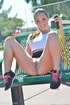 Tennis playing gal drills her smooth pussy with pleasure