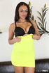 Hot dark hair ebony in yellow dress and black lingerie shows tits and