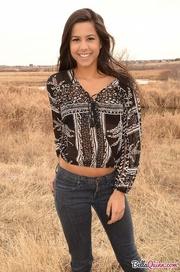 brunette gal showing off
