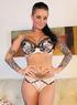 Kinky inked brunette gets multiple orgasms using her white vibrator