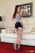Tattooed redhead with foxy body peels off her blue hanging shirt and shows