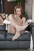 Fetish babe cums to the scent of her brown and white pantyhose