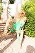 Busty blonde slut in a green dress gets nasty…