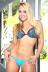 Smoking hot blonde with foxy body in blue lingerie takes them off piece