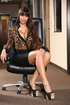Lusty office babe slowly peels off her brown…