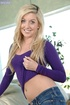 Stunning blonde takes off her purple shirt and…