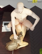 Blonde babe gets ass fucked by white dude on the table.
