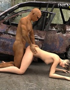 Babe gets naked and fucked by a black dude in burned parking.