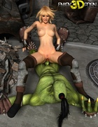 Hot blonde babe enjoys getting pounded hard by hung ogre.