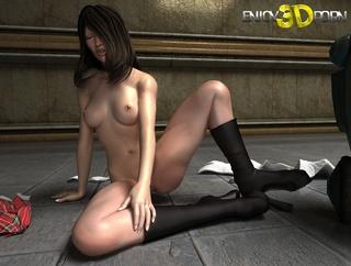 kinky brunette babe strips