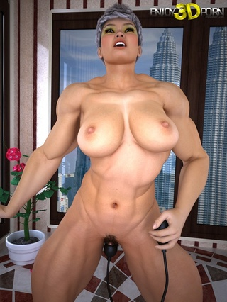 muscular big titted babe