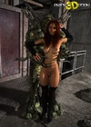 Redhead space babe gets naked with and fucked by giant green alien.