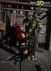 Red-haired babe kneels in front of a huge green ogre's dick.