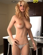 Blonde girl with blue eyes takes underwear off and shows boobs.