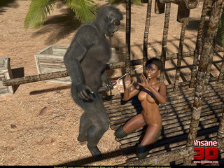 Short haired ebony slut getting rammed by a gorilla - Picture 2