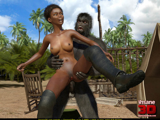 Short haired ebony slut getting rammed by a gorilla - Picture 4