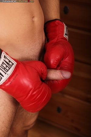 Hunk boxer displays his stunning body wearing his black head gear, red gloves, shorts and white supporter then gets naked and jacks off in his bedroom. - XXXonXXX - Pic 11