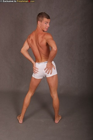 Gorgeous stud takes off his white shirt and displays his stunning body with big muscles before he pulls down his jeans and bares his butt crack and dick under his white brief. - XXXonXXX - Pic 11