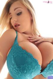 horny blonde blue lingerie
