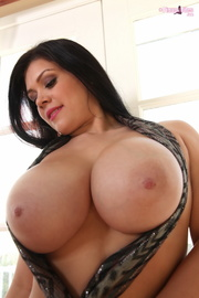 busty chick plays with