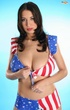 Girl shows off her stars and stripes outfit and her huge rack