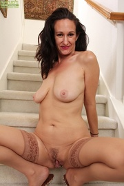 older housewife red lingerie