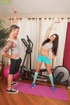 Stunning cougar gets horny and fucks her trainer after working out.