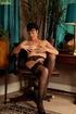 Regal brunette cougar strips to her black…
