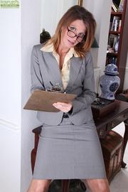 brunette office milf strips
