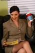 Office MILF strips on her couch to finger horny clit.
