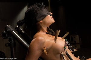Clothespins placed on her body sting goi - XXX Dessert - Picture 4
