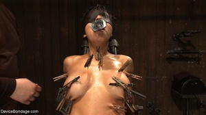 Clothespins placed on her body sting goi - XXX Dessert - Picture 15