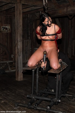 Dark-haired woman withstands involuntary orgasms and caning with her clothing half off. - XXXonXXX - Pic 7