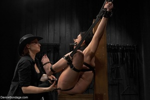 All-natural woman is bound in the most uncomfortable position as she takes the mistreatment well. - XXXonXXX - Pic 10