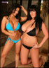 Two bikini models showing their big naturals