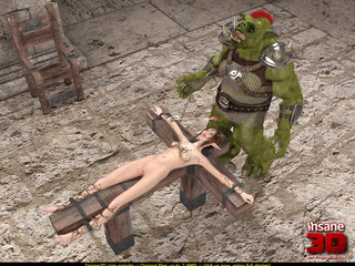 Horny green monster fucks a tied up elf slut - Picture 1