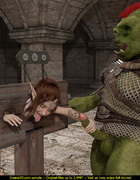 Horny green monster fucks a tied up elf slut