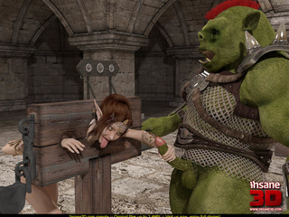 Horny green monster fucks a tied up elf slut - Picture 3