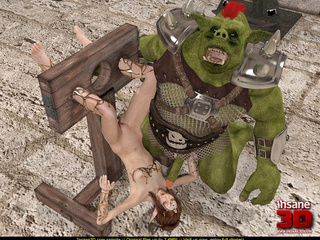 Horny green monster fucks a tied up elf slut - Picture 4