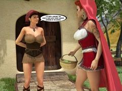 Little Red Riding Hood's mother enjoys in two dicks - Picture 1
