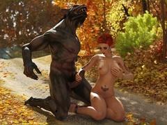 Wonderful redhead slut enjoys in werewolf's big - Picture 3