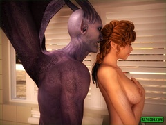 Horny demon is ready to bang this naughty redhead gal - Picture 1