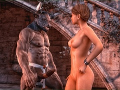 Short haired slut with big tits riding minotaur's - Picture 1