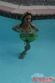 hot blonde green swimsuit