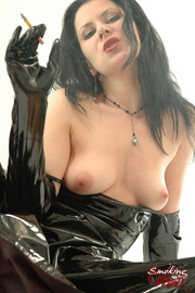 brunette latex dress and
