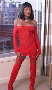 stunning ebony shemale red