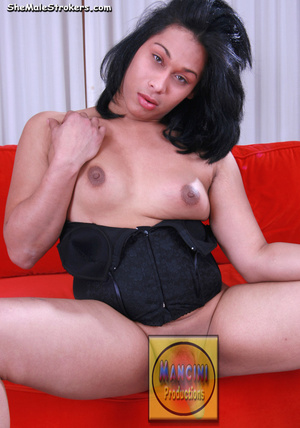 Brown haired shemale in a sexy green bik - XXX Dessert - Picture 1